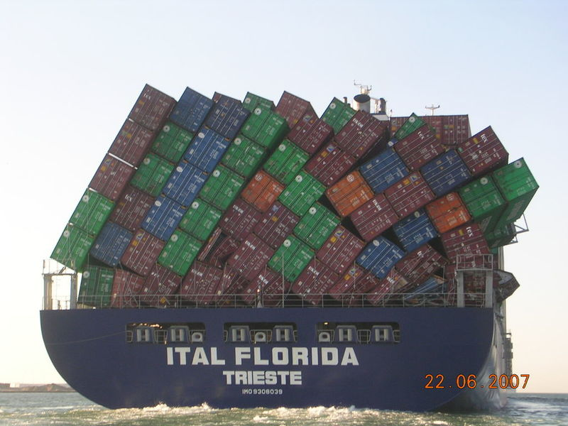Container stack height on a ship: Mechanical strength