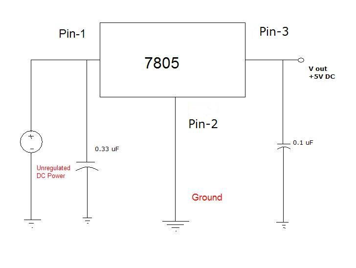 need help with voltage regulator circuit that uses 7805