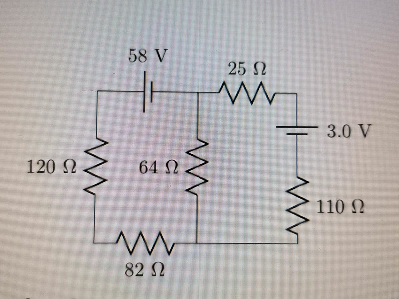 Calculating current in five resistor/two battery circuit | Physics ...