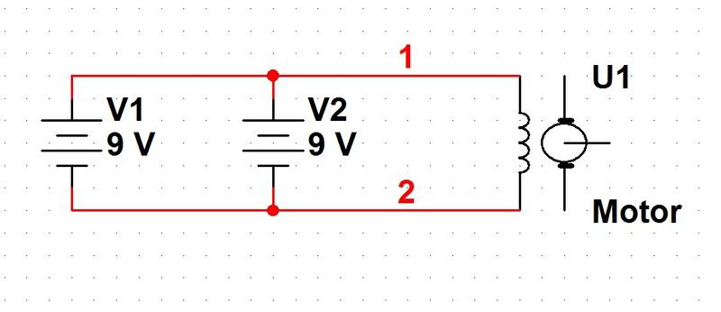 Wiring a DC motor to two 9 volt batteries | Physics Forums on wiring rechargeable batteries in series, wire 4 batteries series, wiring car batteries in series,
