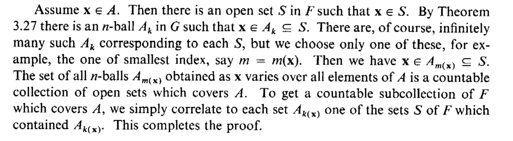 Lindelof Covering Theorem     Apostol, Theorem 3 28