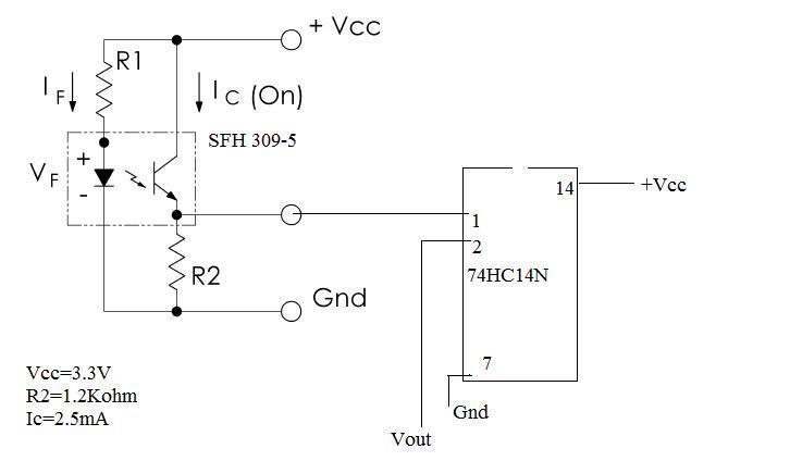 PhotoTransistor and Hex Schmitt trigger Inverter | Physics