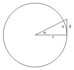 Calculate d and s in terms of angle alpha and radius r.jpg