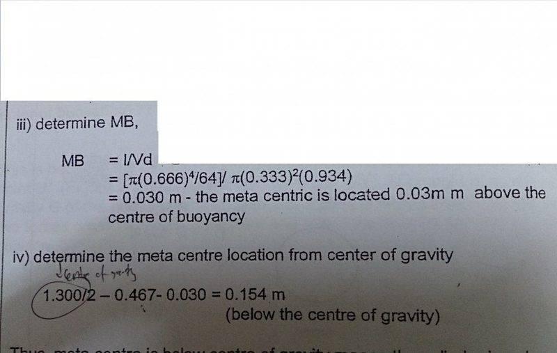 Formula of metacentric height | Physics Forums