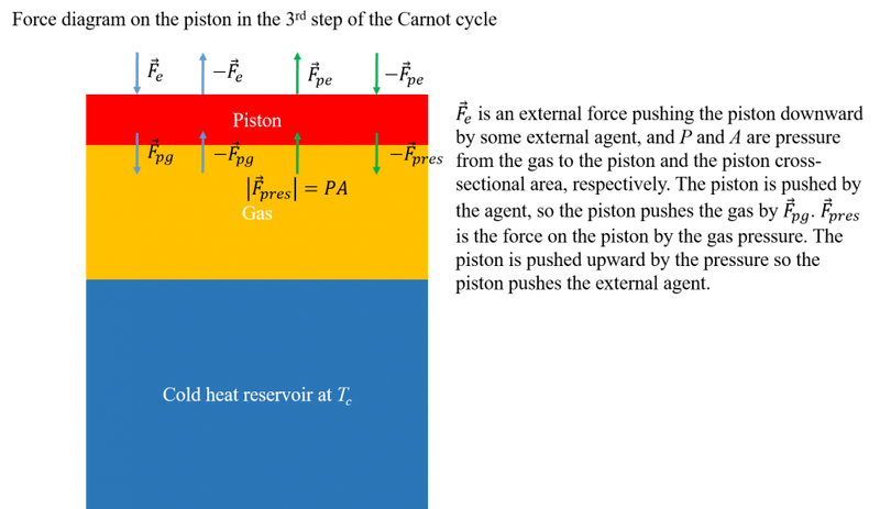 Force_balance_on_piston_in_3rd_step_of_Carnot_cycle.png
