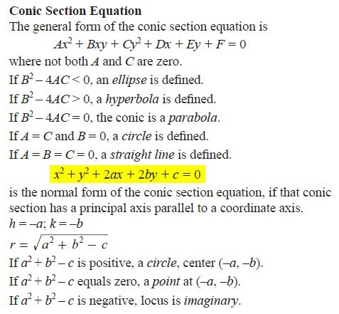 Normal form of the conic section equation | Physics Forums