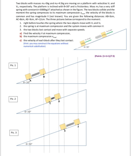 How Do I Solve For An Elastic Collision Going Up A Ramp Physics