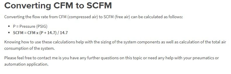 Steps to calculate Air Consumption of a Pneumatic System