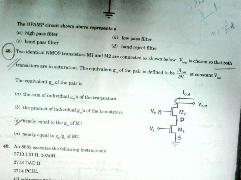 Anybody solve this mosfet transconductance problem | Physics