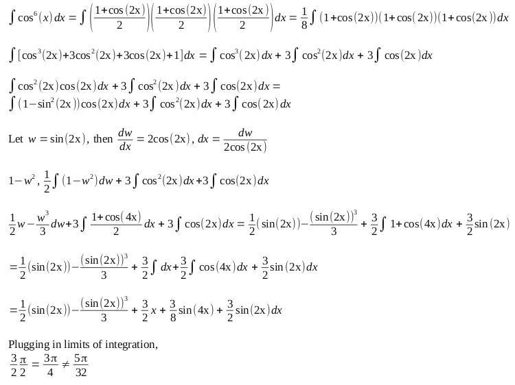 Integrating cos^6 (x) dx from 0 to pi/2   Physics Forums
