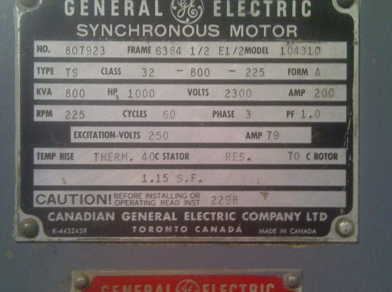 Nameplate motor for General electric motor company