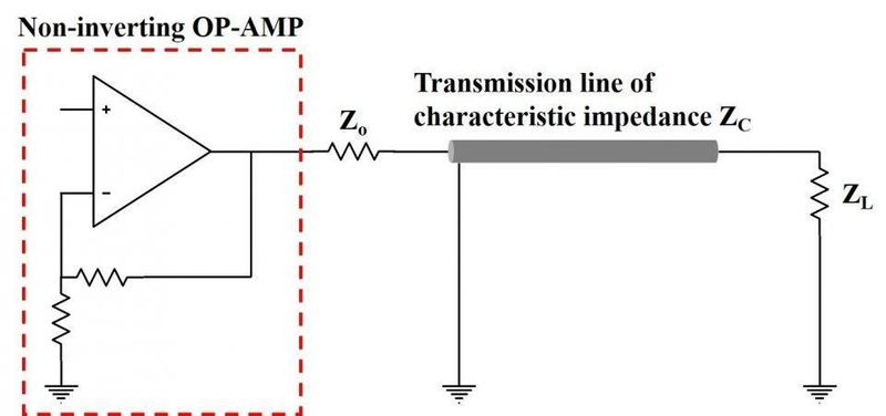 Non-inverting OP-AMP to load via transmission line.jpg