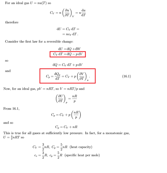 i can u2019t understand the derivation of the formula cp cv nr
