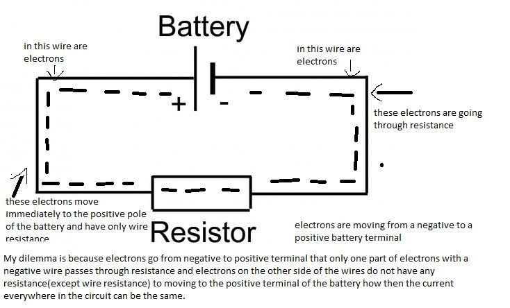 How does a resistor exactly reduce current flow in a circuit ... Which Way Does Current Flow In A Circuit Diagram on