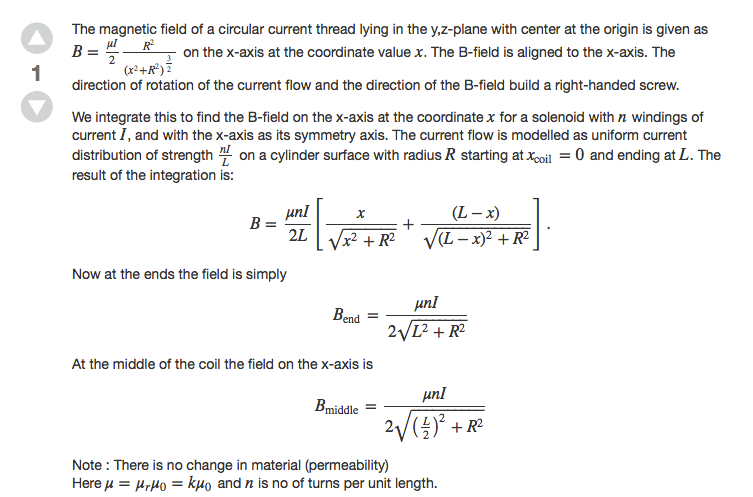 Formula of Solenoid Magnetic B-field at Ending, Middle and