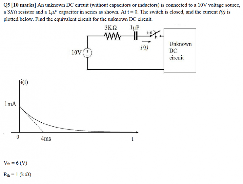 First Order Rc Find Unknown Dc Circuit Given Current Graph