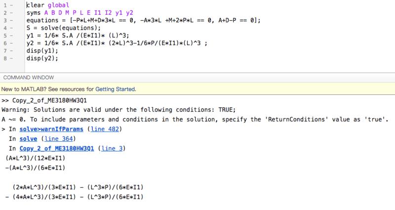 Matlab Beam Deflection Solution Using Symbolic Simultaneous