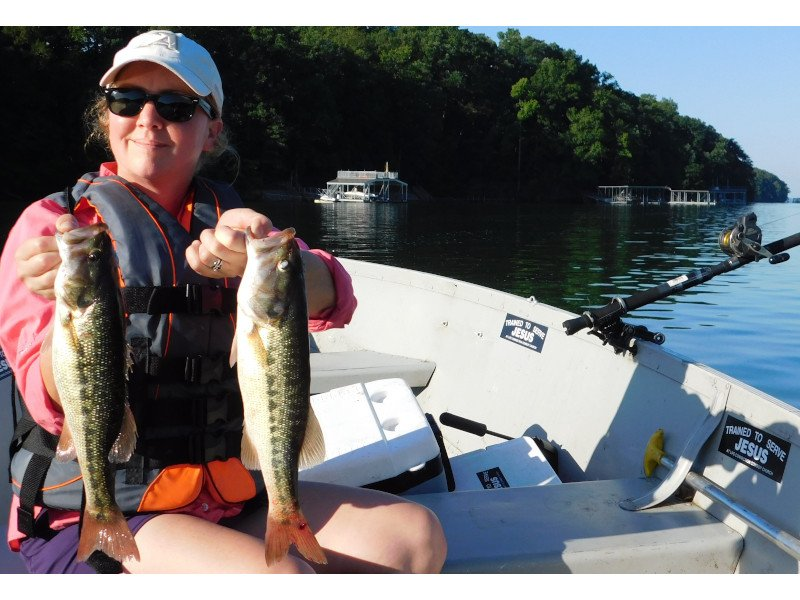Wife with Spotted Bass 800x600.JPG.JPG