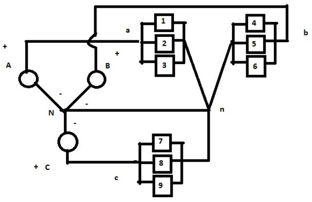 balance an unbalanced 3 phase connection of appliances