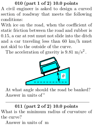 Banked road (find the minimum radius) | Physics Forums