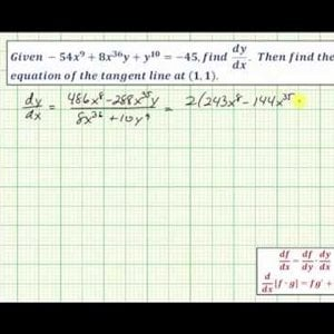 Ex: Perform Implicit Differentiation and Find the Equation of a Tangent Line