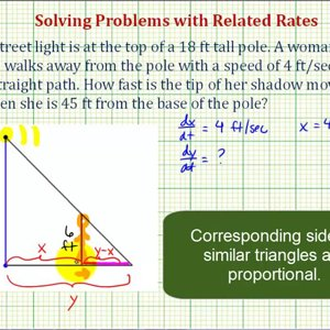 Ex: Related Rates Problem – Rate of Change of a Shadow from a Light Pole