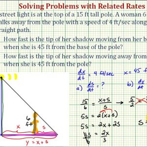 Ex 2: Related Rates Problem -- Rate of Change of a Shadow from a Light Pole