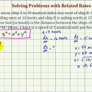 Ex: Related Rates Problem -- Rate of Change of Distance Between Ships