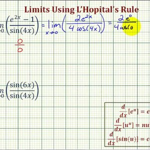Ex 1: Use L'Hopital's Rule to Determine a Limit Approaching Zero with Trig Function