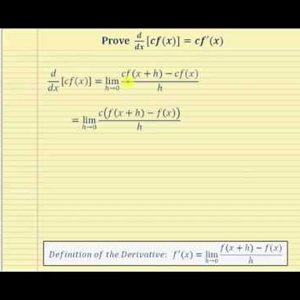 Proof -   the Derivative of a Constant Times a Function:   d/dx[cf(x)]