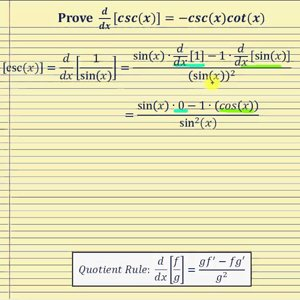 Proof - The Derivative of Cosecant   d/dx[csc(x)]