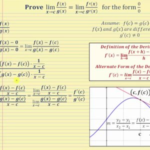 Partial Proof of L'Hopital's Rule (Only Form 0/0)
