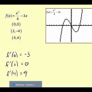 Determine the value of the derivative function on the graphing calculator