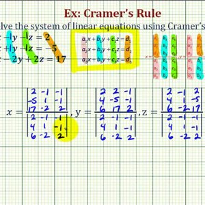 Ex: Solve a System of Three Equations Using Cramer's Rule