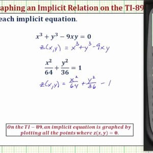 Graph an Implicit Equation on the TI-89 - YouTube