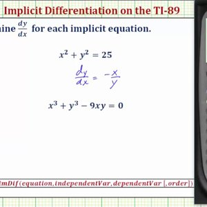 Perform Implicit Differentiation on the TI-89 - YouTube