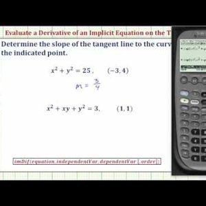 Evaluate a Derivative of an Implicit Equation on the TI-89 - YouTube