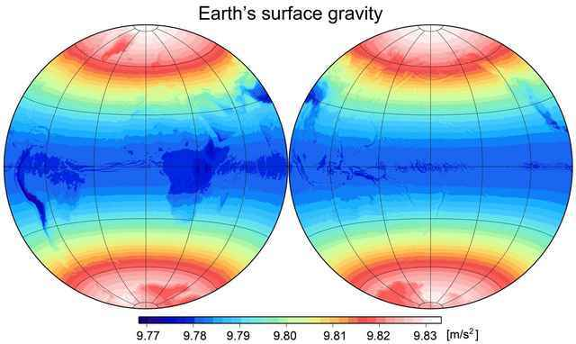 Earth's absolute surface gravity variation