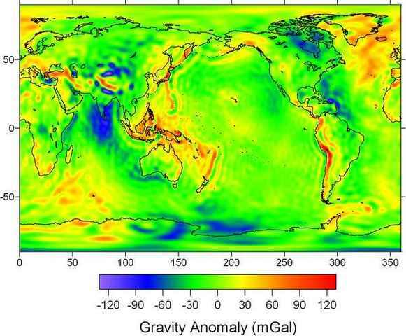 A map of Earth's gravity anomalies