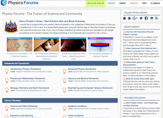 Physics Forums Homepage in 2018