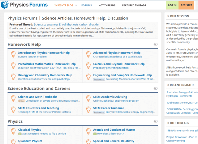 Physics Forums Homepage in 2019