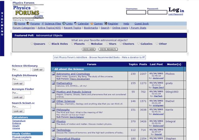 Physics Forums Homepage in 2001