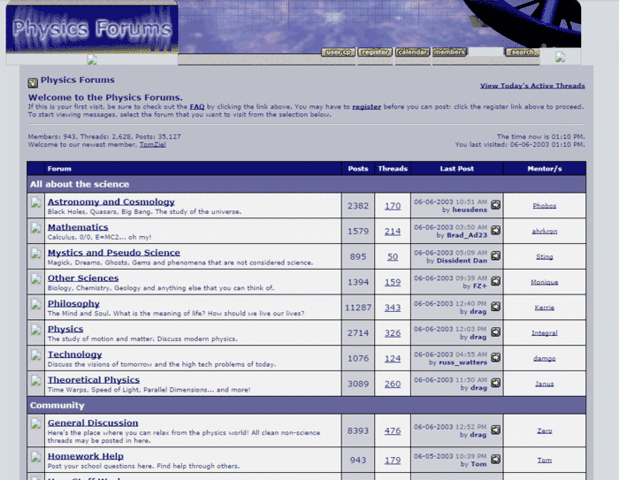 Physics Forums Homepage in 2003