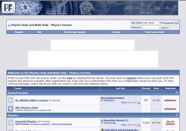 Physics Forums Homepage in 2005