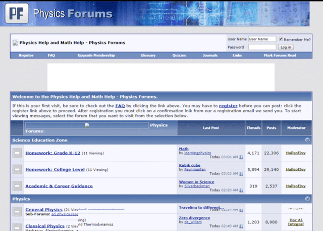 Physics Forums Homepage in 2007