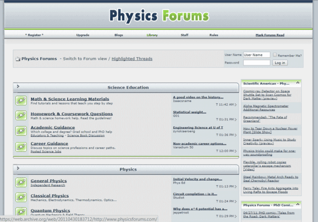 Physics Forums Homepage in 2009