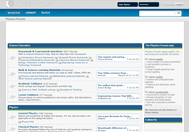 Physics Forums Homepage in 2012